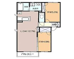 JR東海道本線 大磯駅 徒歩18分の賃貸アパート 1階2LDKの間取り