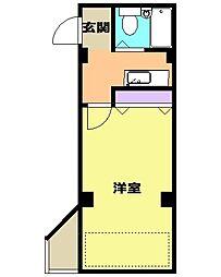 シャトー弥生 3階ワンルームの間取り