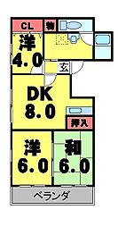 K'sハイツ 2階3DKの間取り