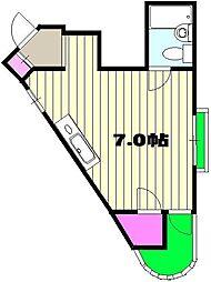 西武新宿線 航空公園駅 徒歩6分の賃貸マンション 3階ワンルームの間取り