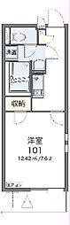 JR青梅線 小作駅 徒歩19分の賃貸マンション 2階1Kの間取り