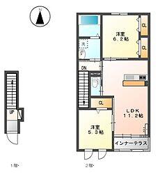 名鉄尾西線 日比野駅 徒歩33分の賃貸アパート 2階2LDKの間取り
