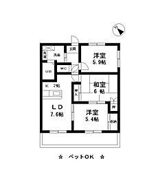 京王線 中河原駅 バス15分 稲荷神社前下車 徒歩3分の賃貸マンション 2階3DKの間取り