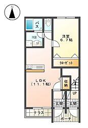 JR東海道本線 二宮駅 バス4分 百合ヶ丘坂下下車 徒歩1分の賃貸アパート 1階1LDKの間取り