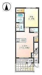 JR東海道本線 平塚駅 バス17分 横内団地前下車 徒歩4分の賃貸アパート 1階1LDKの間取り