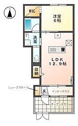 名鉄小牧線 味鋺駅 徒歩24分の賃貸アパート 1階1LDKの間取り