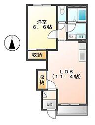 名鉄尾西線 渕高駅 徒歩10分の賃貸アパート 1階1LDKの間取り