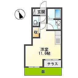 スターテラス富士町アパートII期新築工事 1階ワンルームの間取り