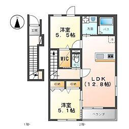 真岡鐵道 七井駅 徒歩14分の賃貸アパート 2階2LDKの間取り