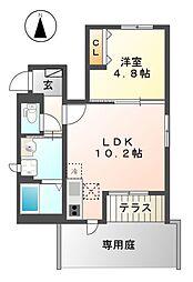 西武拝島線 西武立川駅 徒歩18分の賃貸アパート 1階1LDKの間取り