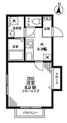 西武新宿線 上石神井駅 徒歩10分の賃貸アパート 2階1Kの間取り