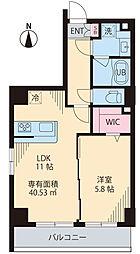 COURT TAKETOKU III 2階1LDKの間取り