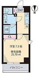 COURT TAKETOKU III 4階1Kの間取り