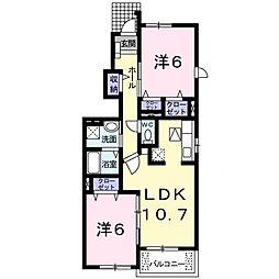 アメニティ II 1階2LDKの間取り