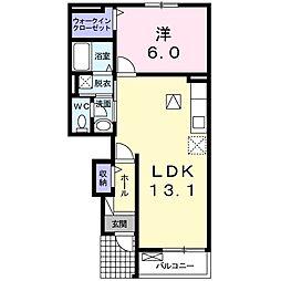 名鉄竹鼻線 江吉良駅 徒歩29分の賃貸アパート 1階1LDKの間取り