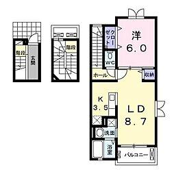 東武伊勢崎線 東武動物公園駅 徒歩25分の賃貸アパート 3階1LDKの間取り
