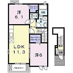 サンリットMII 2階2LDKの間取り