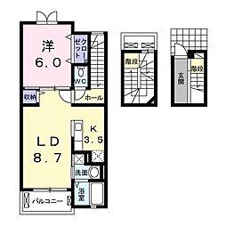 東武日光線 杉戸高野台駅 徒歩8分の賃貸アパート 3階1LDKの間取り