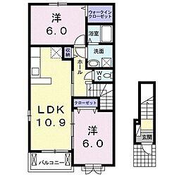ヴェスティートII 2階2LDKの間取り