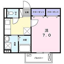 京王線 芦花公園駅 徒歩11分の賃貸アパート 2階1Kの間取り