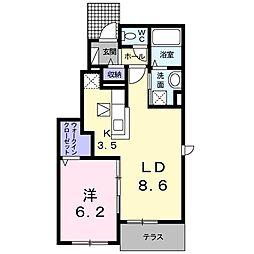 高松琴平電気鉄道長尾線 長尾駅 徒歩10分の賃貸アパート 1階1LDKの間取り