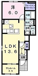 遠州鉄道 遠州芝本駅 徒歩9分の賃貸アパート 1階1LDKの間取り