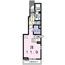 フェリーチェ 1階ワンルームの間取り