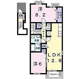 JR東北本線 白岡駅 徒歩13分の賃貸アパート 2階2LDKの間取り