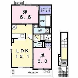 伊豆箱根鉄道駿豆線 牧之郷駅 徒歩10分の賃貸アパート 2階2LDKの間取り