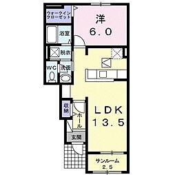 東武小泉線 本中野駅 徒歩9分の賃貸アパート 1階1LDKの間取り