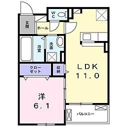 Mount明II 2階1LDKの間取り