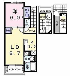 中原3丁目アパート 3階1LDKの間取り