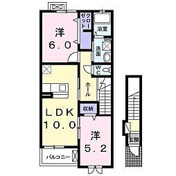 ハピネスハウスK 2階2LDKの間取り