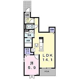 アハトフェルダ弐番館 1階1LDKの間取り