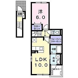名鉄犬山線 岩倉駅 徒歩15分の賃貸アパート 2階1LDKの間取り