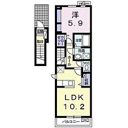 JR武豊線 半田駅 徒歩23分の賃貸アパート 2階1LDKの間取り