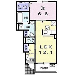 JR飯田線 茶臼山駅 徒歩8分の賃貸アパート 1階1LDKの間取り