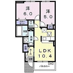 アンソレイエ 1階2LDKの間取り