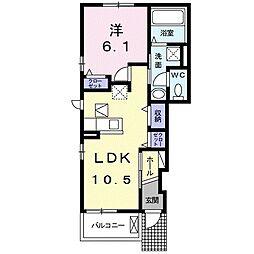 JR東北本線 白岡駅 徒歩18分の賃貸アパート 1階1LDKの間取り