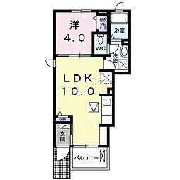 静岡鉄道静岡清水線 桜橋駅 徒歩17分の賃貸アパート 1階1LDKの間取り