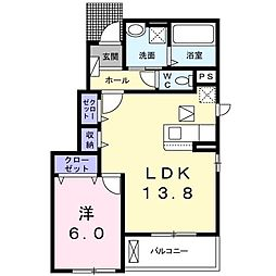 愛知環状鉄道 山口駅 徒歩13分の賃貸アパート 1階1LDKの間取り