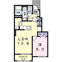 下烏田アパートI(仮称) 1階1LDKの間取り