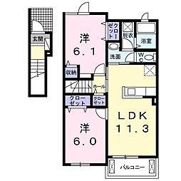 下烏田アパートI(仮称) 2階2LDKの間取り