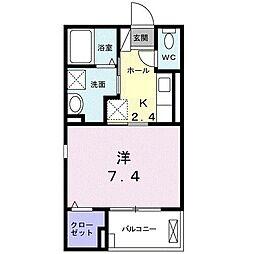 JR御殿場線 御殿場駅 徒歩21分の賃貸アパート 2階1Kの間取り
