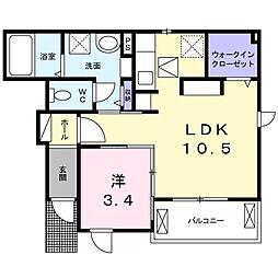 Hard Castle湘南III 1階1LDKの間取り