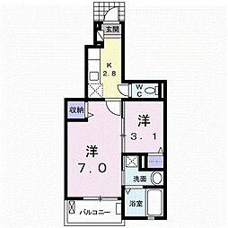 伊豆箱根鉄道駿豆線 大場駅 徒歩17分の賃貸アパート 1階1Kの間取り