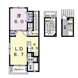伊豆箱根鉄道駿豆線 大場駅 徒歩17分の賃貸アパート 3階1LDKの間取り