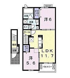 JR東海道本線 菊川駅 バス19分 堤下車 徒歩5分の賃貸アパート 2階2LDKの間取り