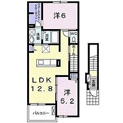 JR東海道本線 岡崎駅 徒歩28分の賃貸アパート 2階2LDKの間取り