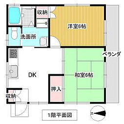 JR外房線 上総一ノ宮駅 徒歩10分の賃貸アパート 1階2DKの間取り